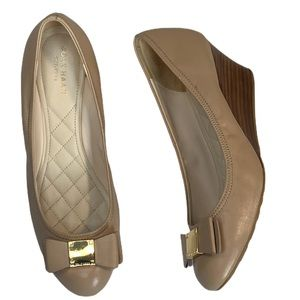 Cole Haan Tali Grand Bow Wedge Pump Nude Stacked